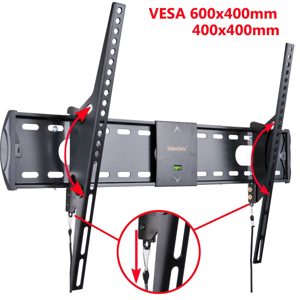 "VideoSecu Tilt TV Wall Mount 32 39 40 42 47 50 55"" LCD LED Plasma UHD HDTV Flat Panel Screen Display VESA 600x400mm 3N9"