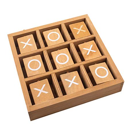 Tic-Tac-Toe Wood Game Set by GrowUpSmart | Classic Wooden Board Game for Kids | Mini Travel Set - image 1 of 4