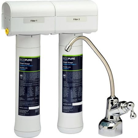 EcoPure ECOP20 No Mess Dual Stage Drinking Water Filter System, NSF Certified, Better Tasting Water at Your Kitchen Sink