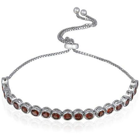 African Garnet Sterling Silver Adjustable Bracelet, 3