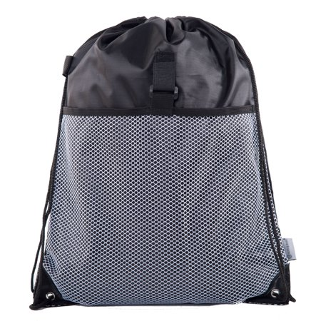 Mato & Hash Drawstring Cinch Bag Backpack With Mesh Pocket Polyester Tote Sack (Drawstring Backpack Bulk)