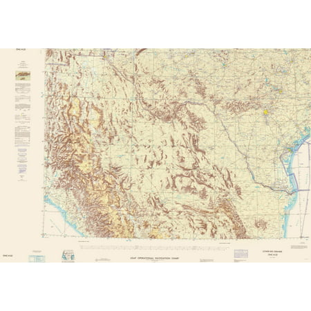 Map Of Texas New Mexico.Topographical Map Lower Rio Grande New Mexico Texas Aeronautical 1964 23x33