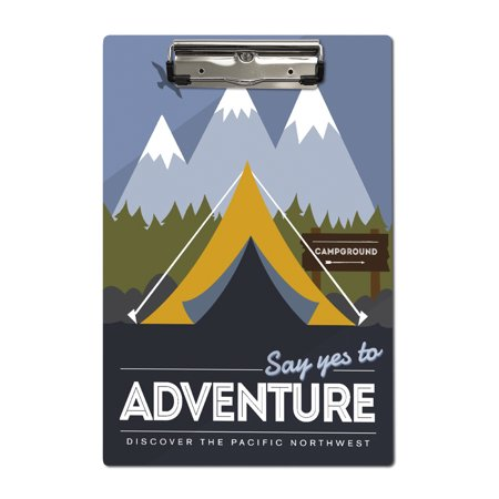 Discover the Pacific Northwest - Say Yes to Adventure (Tent) - Discover the Park - Vector Style - Lantern Press Artwork (Acrylic Clipboard)
