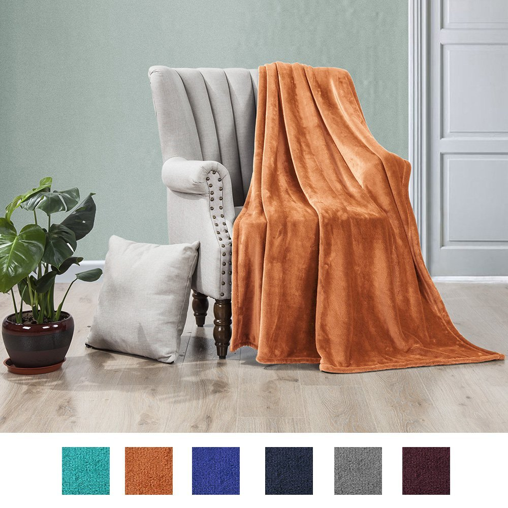 Click here to buy 50x60 Inch Ultra Soft Flannel Fleece Throw Blanket Lightweight Decortive Fuzzy Plush....