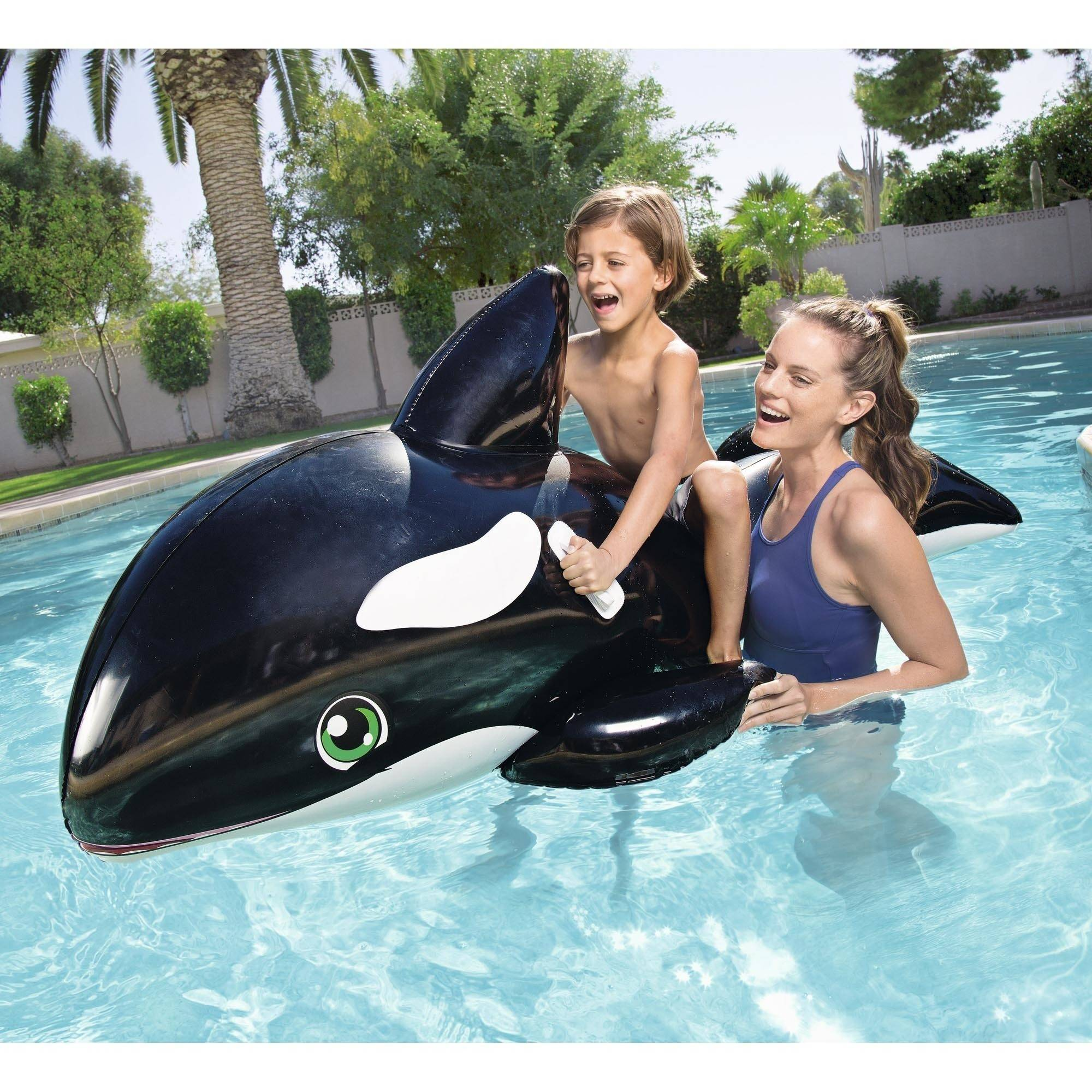 H2OGO! Jumbo Whale Rider Inflatable Pool Float