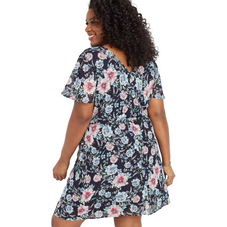 maurices Ruffles Wrap Front Dress - Women's Plus Size Floral Print