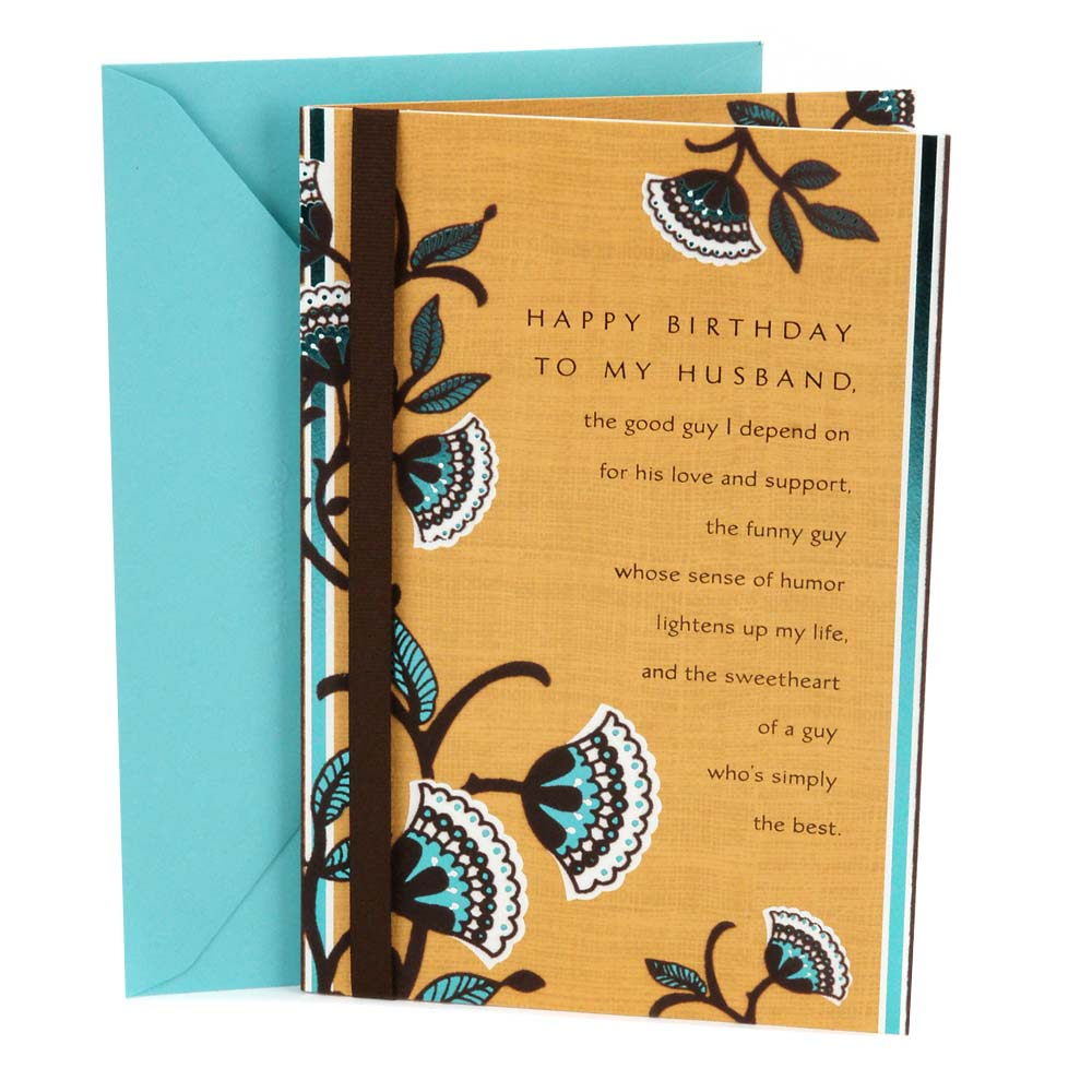 Hallmark, Brown and Blue Floral, Birthday Greeting Card, to Husband