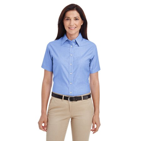 Branded Harriton Ladies Short Sleeve Oxford Shirt with Stain-Release - LIGHT BLUE - 2XL (Instant Saving 5% & more on min (New Oxxford Clothes)