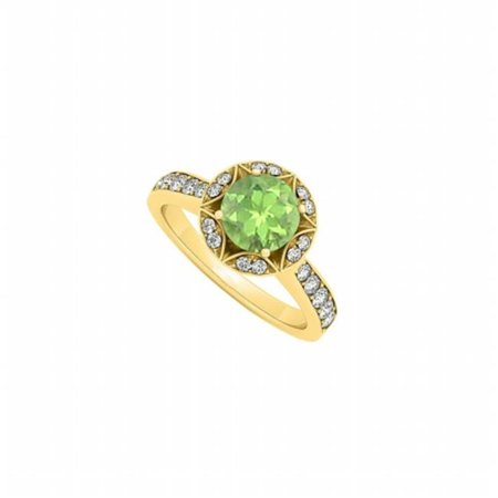 Fine Jewelry Vault UBNR84409AGVYCZPR Peridot Designer Engagement Ring In 18K Yellow Gold Vermeil With CZ, 12