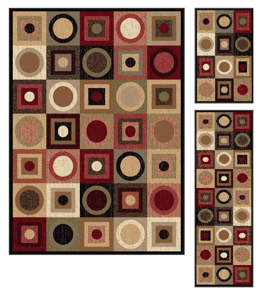 3-Pc Contemporary Rug in Multicolored