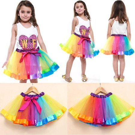 Girls Rainbow Tutu Skirt Tulle Dance Ballet Party Dress Toddler Bow Costume Short