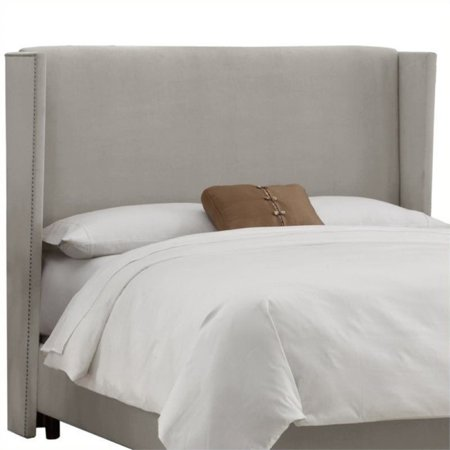 pemberly row upholstered queen tufted panel headboard in gray. Black Bedroom Furniture Sets. Home Design Ideas