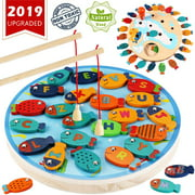 CozyBomB Magnetic Wooden Fishing Game Toy for Toddlers - Alphabet Fish Catching Counting Preschool Board Games Toys for 2 3 4 Year Old Girl Boy Kids Birthday Learning Education Math with M