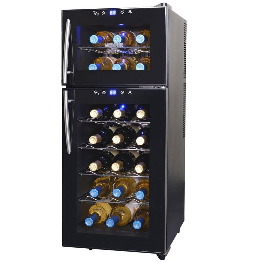 NewAir AW-210ED Dual Zone Thermoelectric 21 Bottle Vertical Wine Cooler, Black