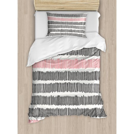 Line Short Set (Abstract Duvet Cover Set, Hand Drawn Short Vertical Lines Retro Horizontal Stripes Hipster Doodle, Decorative Bedding Set with Pillow Shams, Black Coral White, by)