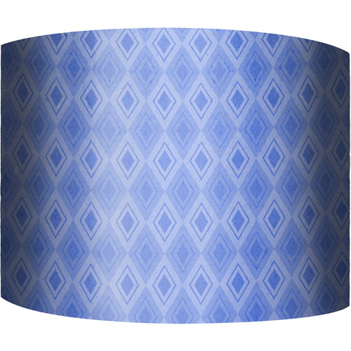 "12"" Drum Lamp Shade, Blue Pattern"
