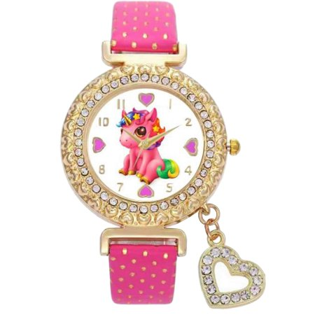 Lucky Baby Unicorn Stones Gold-Tone Analog Quartz Wrist Charm Watch for Girls . Birthday New Year Christmas Best