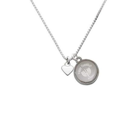 Silvertone Mini Two Sided White Heart - Happy Hanukkah Menorah (32 Mini Pendant)