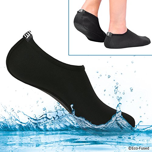 Water Socks for Women - Extra Comfort - Protects Against Sand, Cold/Hot Water, UV, Rocks/Pebbles - Easy Fit Footwear for Swimming (Black, (M) Women - 8-10)