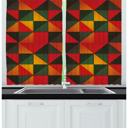 - Geometric Curtains 2 Panels Set, Grunge Style Mosaic Pattern with Triangles and Squares Stylized Graphic Tile Art, Window Drapes for Living Room Bedroom, 55W X 39L Inches, Multicolor, by Ambesonne