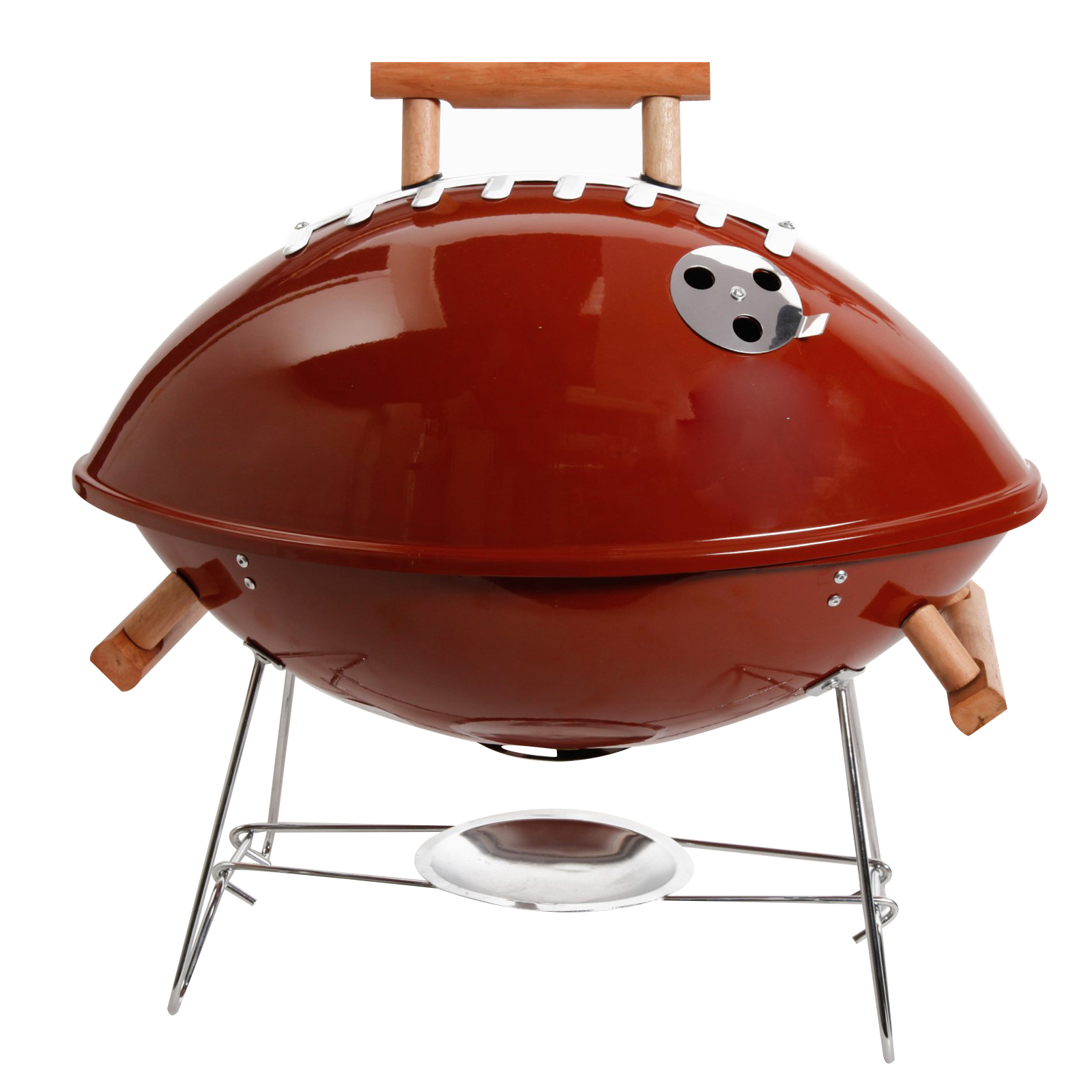 "Football BBQ 18"" Grill - Brown - Powder Coating - Wood Handle - Steel"