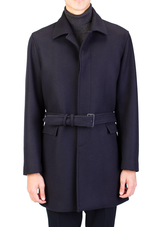 Prada Men's Virgin Wool Trench Coat Jacket Navy Blue by Prada
