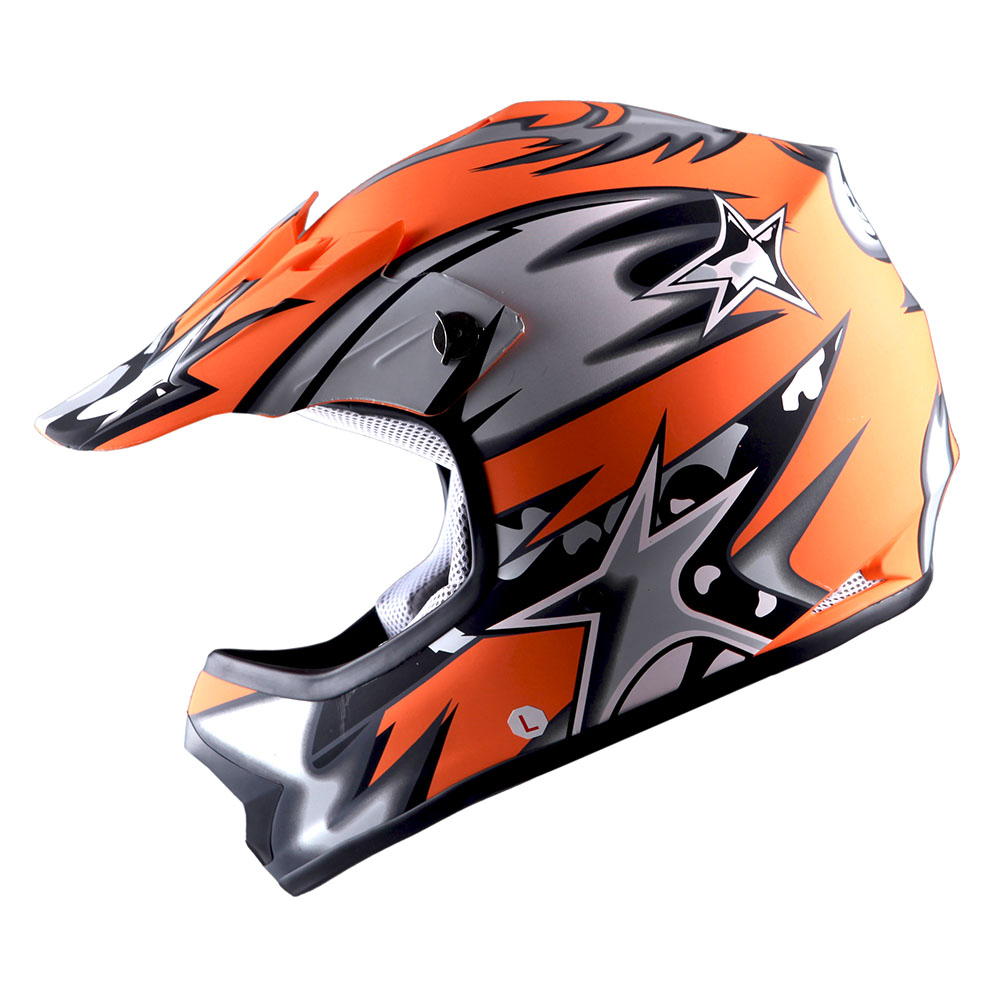 WOW Youth Kids Motocross Helmet BMX MX ATV Dirt Bike Star Matt Yellow