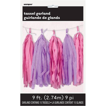 Tissue Paper Tassel Garland, 9 ft, Pink and Purple, 1ct