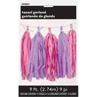 Tissue Paper Tassel Garland, 9 ft, Pink and Purple, 1ct