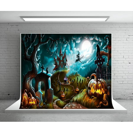 GreenDecor Polyester Fabric 7x5ft Halloween Photography Backdrop Party Photo Booth Backdrop Castle Pumpkin Rip Night Background for Children,Adult