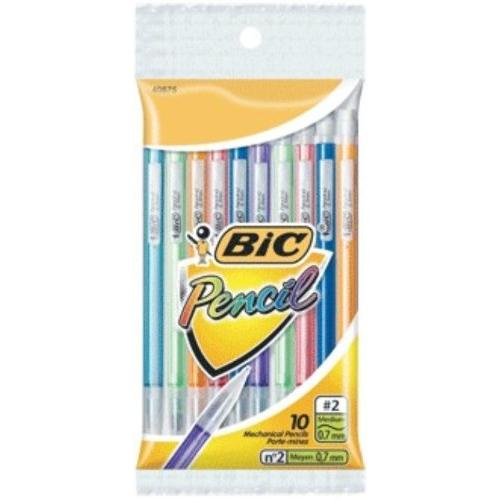 Bic Mechanical Pencil With Lead - #2 Pencil Grade - 0.7 Mm Lead Size - Assorted Barrel - 10 / Pack (MPLP101)