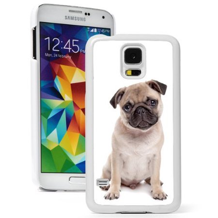 Samsung Galaxy (S5 Active) Hard Back Case Cover Cute Pug Puppy Dog (White)