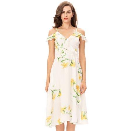 Boho Floral Print Dress, One Sight Sleeveless Halter Dress Ruffled Cold Shoulder Maxi Dress For Women White ()