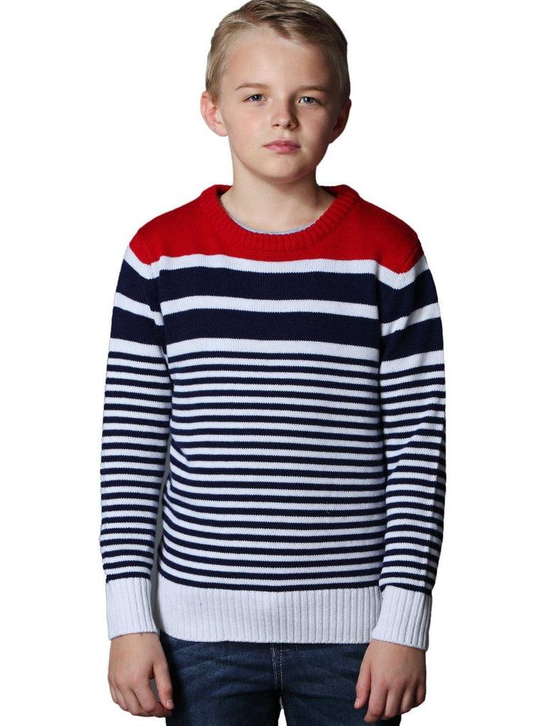 Leo&Lily Big Boys' Fine Wool Blend Christmas Red Stripe Sweater
