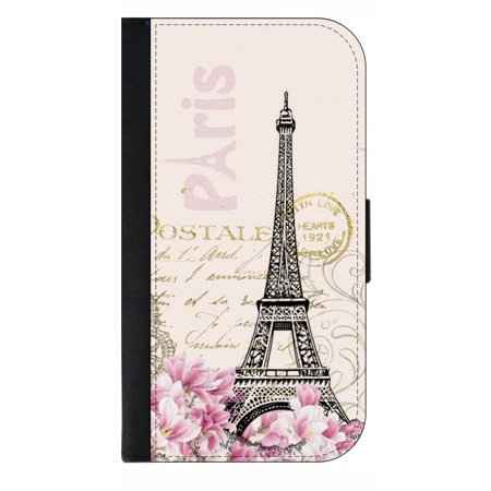 Phone Theme Shop (Vintage Style Floral Paris Parisian Eiffel Tower Themed Design - Wallet Style Cell Phone Case with 2 Card Slots and a Flip Cover Compatible with the Standard Apple iPhone 7)