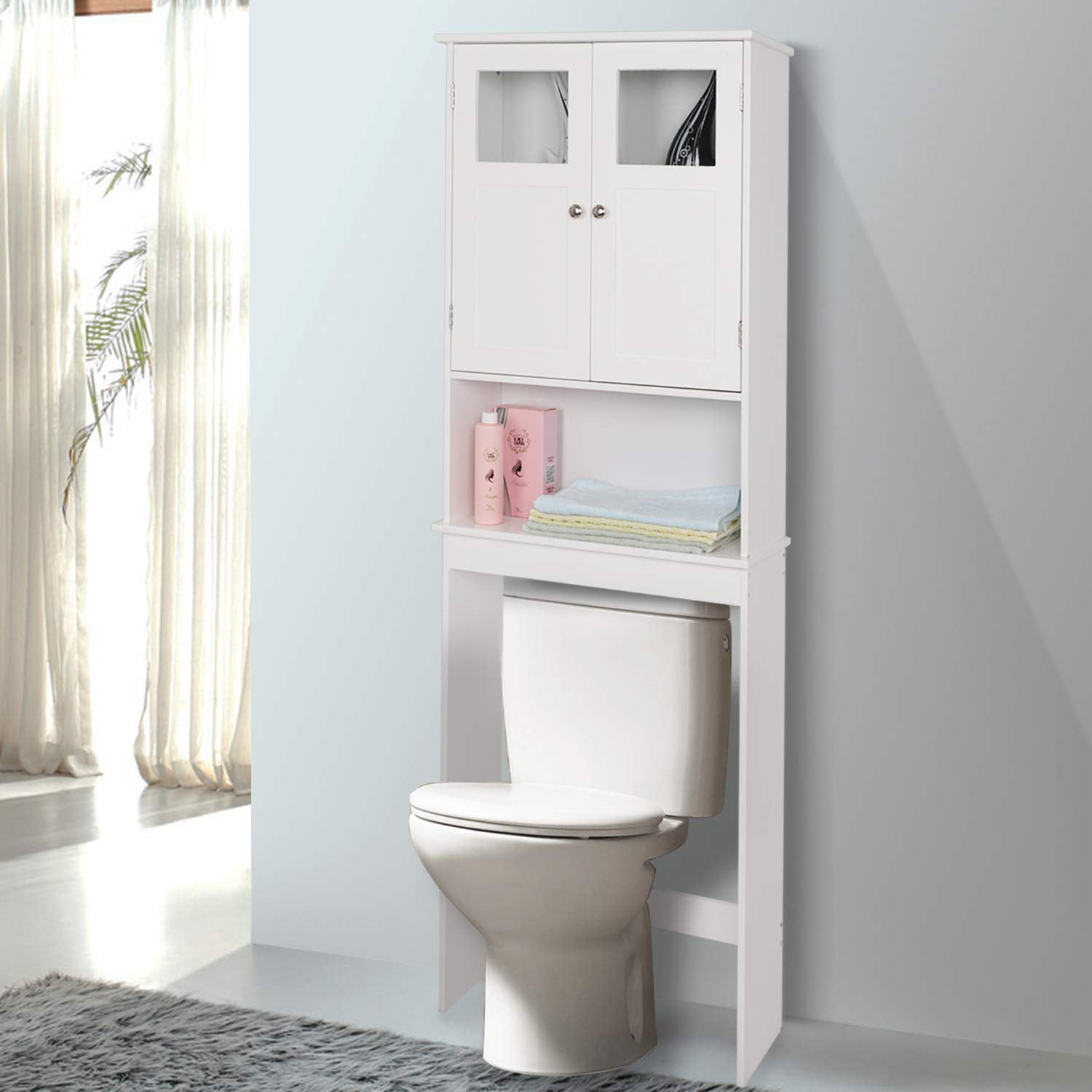 home over toilet storage, bathroom space saver with double