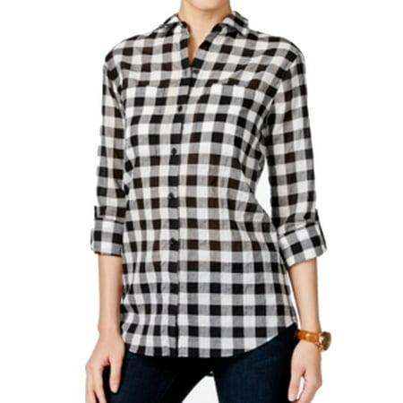 76fa9ac25 Michael Kors - Michael Kors NEW Black Womens Size Large PL Petite Button  Down Shirt - Walmart.com