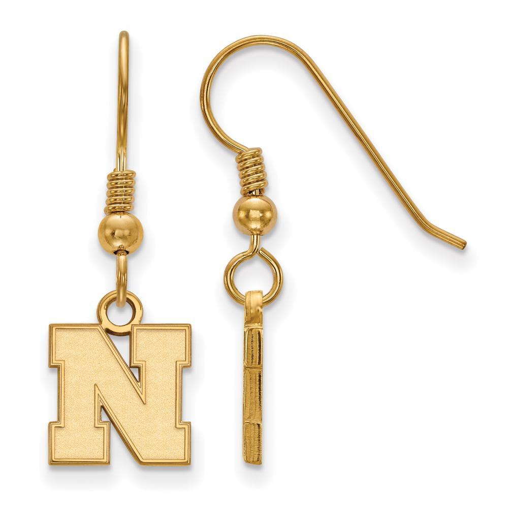 Nebraska Extra Small (3/8 Inch) Earrings Dangle (Gold Plated)
