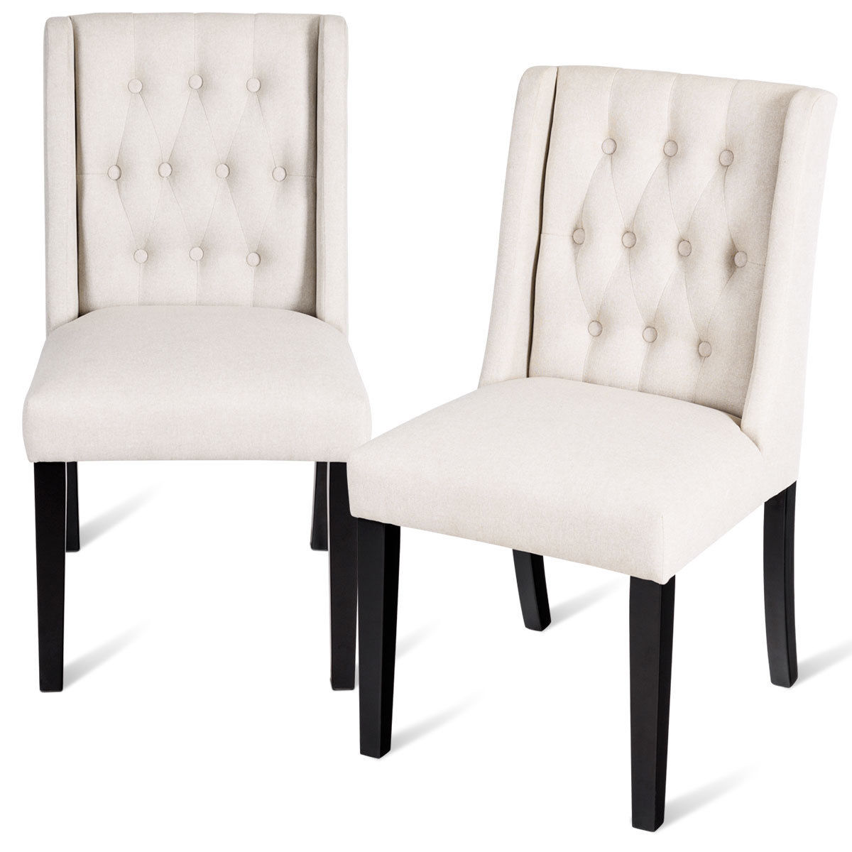 Costway Set of 2 Dining Side Chairs Wing Back Button Tufted Fabric with Wood Legs Beige
