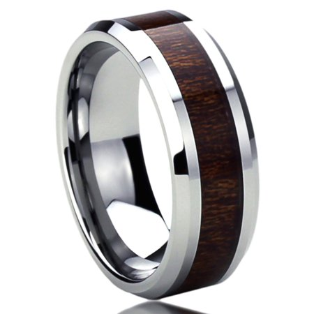 Men Women 8MM Titanium Comfort Fit Wedding Band Ring Wood Grain Inlay Beveled Edges Ring (6 to 14) (Inlay Titanium Band Ring)
