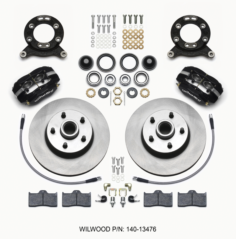 Wilwood Forged Dynalite-M Front Kit 11.30in 1 PC Rotor&Hub 1965-1969 Mustang Disc & Drum Spindle
