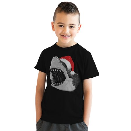 Youth Santa Jaws Funny Holiday Shark Christmas T shirt for Kids - Santa Clothes For Kids