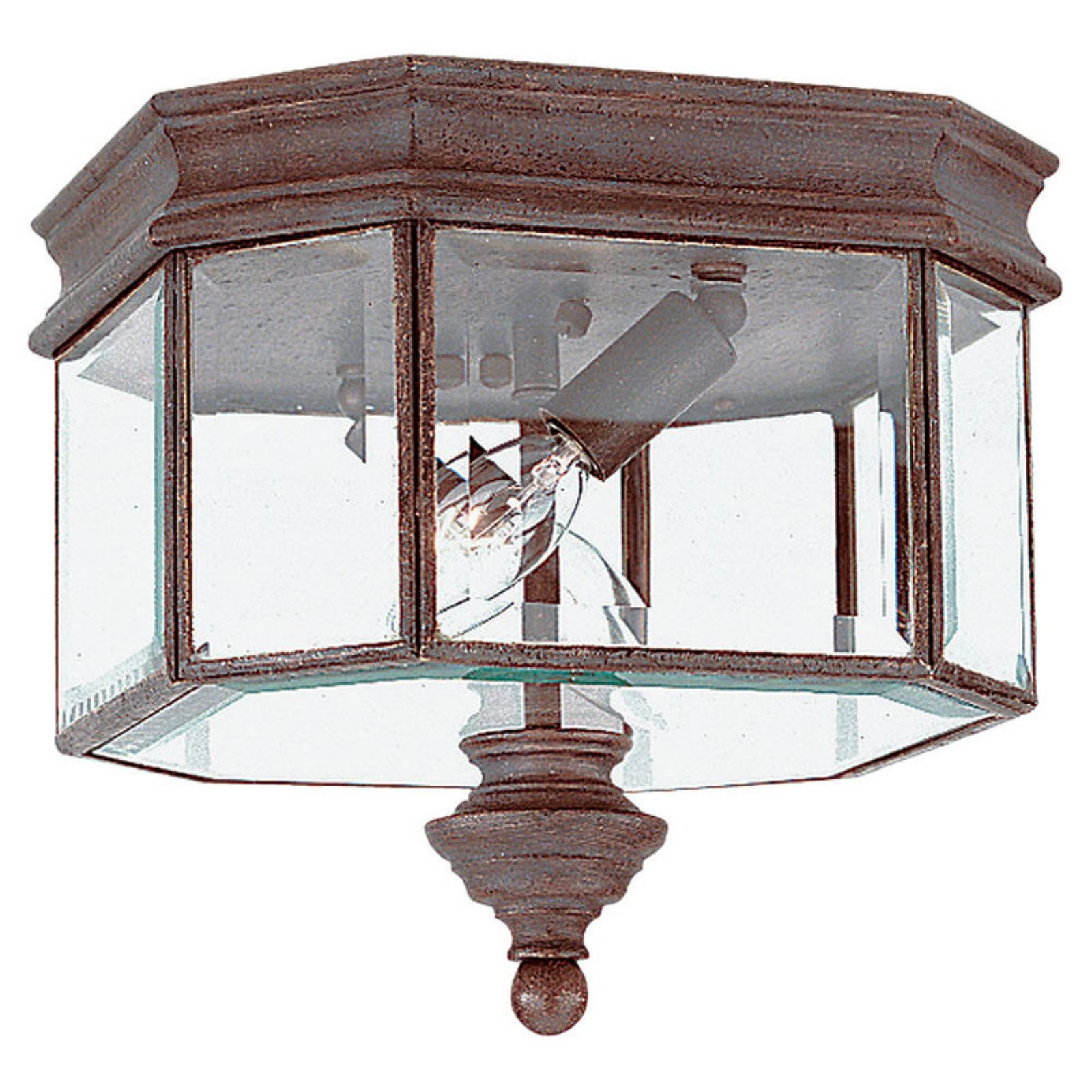 Sea Gull Hill Gate Outdoor Ceiling Light - 9H in. Textured Rust