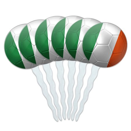 Ireland Flag Soccer Ball Futbol Football Cupcake Picks Toppers - Set of 6 - Soccer Cupcake Toppers