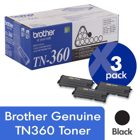 Brother Genuine TN360 3-Pack High Yield Black Toner Cartridge with approximately 2,600 page yield/cartridge Tn360 High Yield Toner