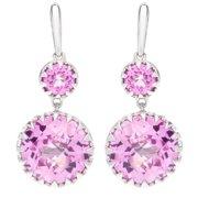Boston Bay Diamonds  925 Yellow Sterling Silver 11x5mm Cushion-cut Pink Sapphire Earrings