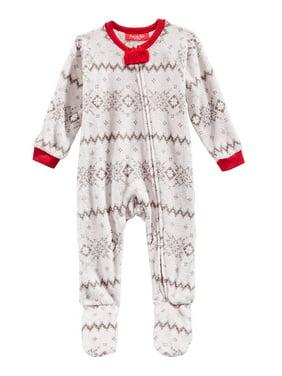 Family Pajamas Unisex Kid's Footed Pajamas Fairisle Gray 6-9 MOS