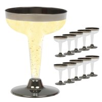 10PC Plastic Champagne Flutes Wine Glasses Disposable 4.5oz Party Wedding Silver