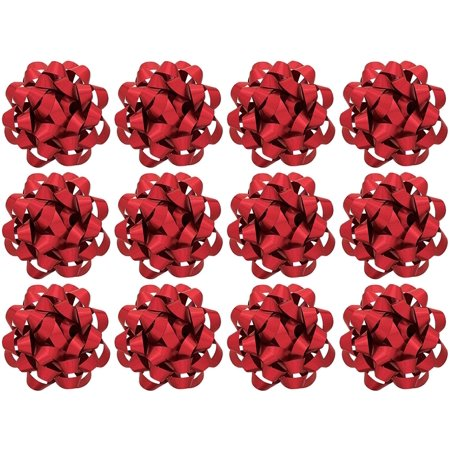 Decorative Gold 2 Pair Binding (Decorative Confetti Gift Bows, Large, Red (12/Pkg))
