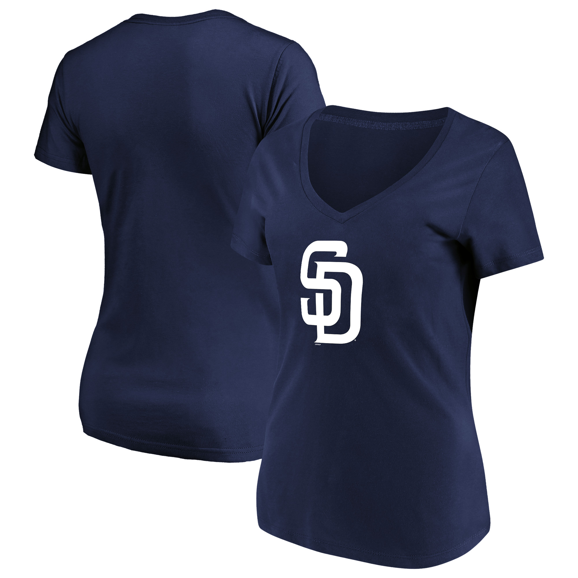 Women's Majestic Navy San Diego Padres Top Ranking V-Neck T-Shirt